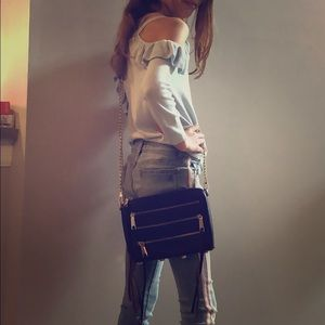 Rebecca Minkoff plum crossbody with zippers
